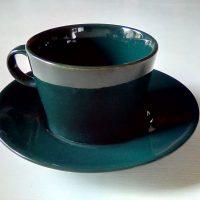 Kilta kahvikuppi tasseineen, vihreä. Arabia